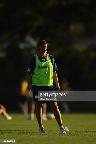 Ariane Hingst attends a training session at the Newcastle Jets training ground on October 17 2011 in Newcastle Australia