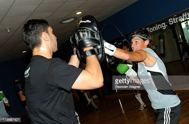 Ariane Hingst boxes during a Germany training session at Fitness First club on June 13 2011 in Frankfurt am Main Germany