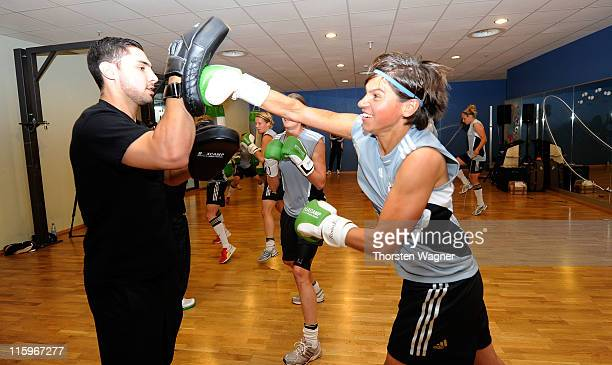 Ariane Hingst boxes during the Germany training session at Fitness First club on June 13 2011 in Frankfurt am Main Germany