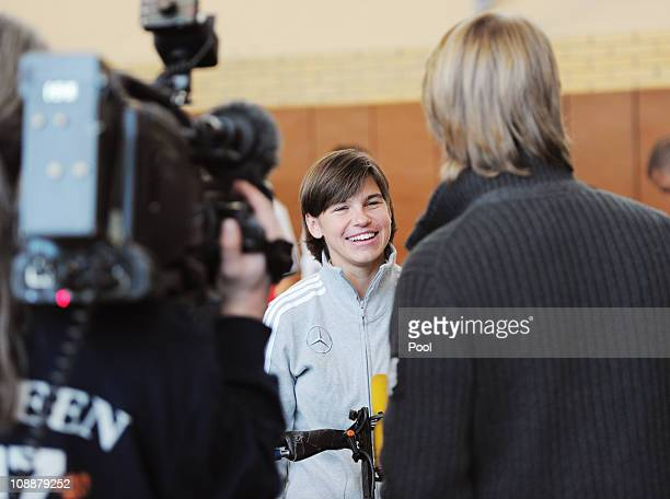 Ariane Hingst gives an interview during the German national team commercial shooting of general sponsor MercedesBenz with members of the German...