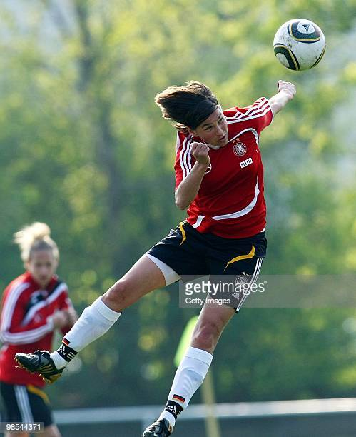 Ariane Hingst in action during a training session at the Philippe Mueller stadium on April 19 2010 in Dresden Germany