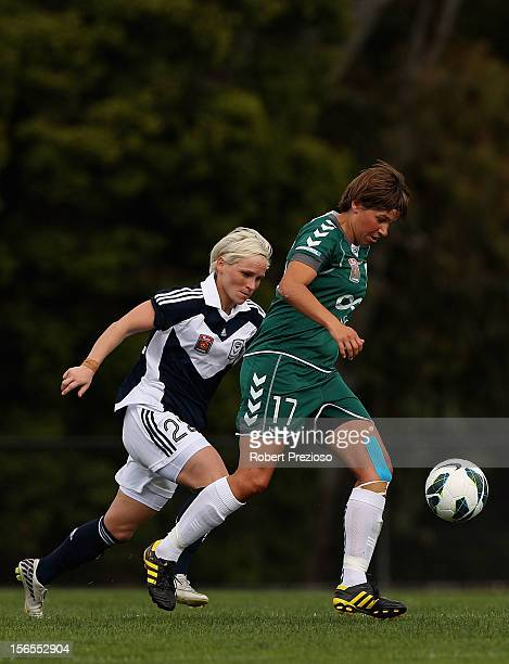Ariane Hingst of Canberra controls the ball during the round five WLeague match between the Melbourne Victory and Canberra United on November 17 2012...