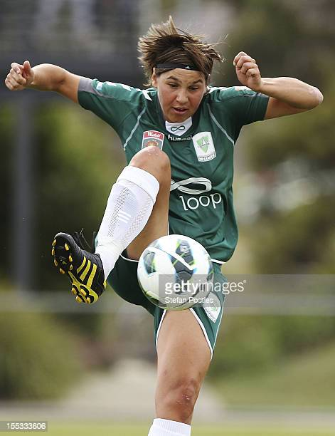 Ariane Hingst of Canberra United in action during the round three WLeague match between Canberra United and Adelaide United at McKellar Park on...
