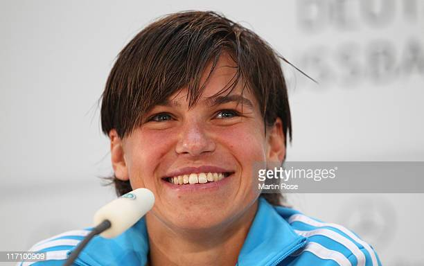 Ariane Hingst of Germany attends the Germany Women national press conference at Mercedes Welt Berlin on June 22 2011 in Berlin Germany