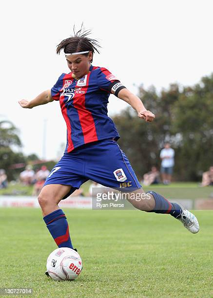 Ariane Hingst of Newcastle kicks the ball during the round two WLeague match between the Newcastle Jets and Adelaide United at Adamstown Oval on...