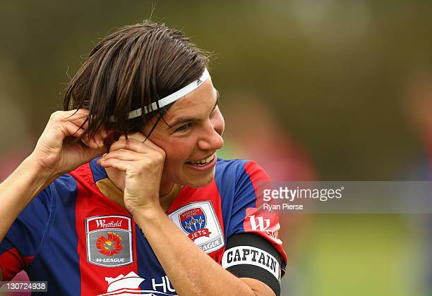 Ariane Hingst of Newcastle looks on during the round two WLeague match between the Newcastle Jets and Adelaide United at Adamstown Oval on October 29...