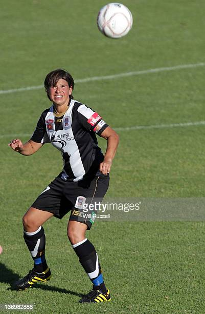 Ariane Hingst of the Jets heads the ball in the game between Perth Glory and Newcastle Jets at 6PR Stadium on January 14 2012 in Perth Australia