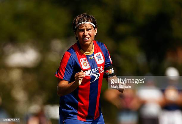 Ariane Hingst of the Jets talks to teammates during the round 11 WLeague match between the Newcastle Jets and the Brisbane Roar at Adamstown Oval on...