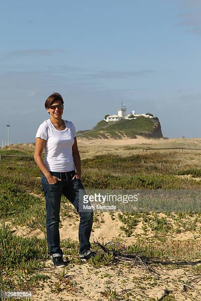 Ariane Hingst poses during a photo call at the beach on October 17 2011 in Newcastle Australia