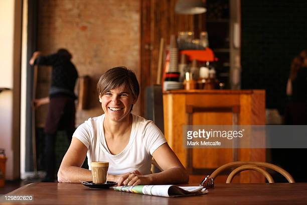 Ariane Hingst smiles during a photo call at the beach on October 17 2011 in Newcastle Australia