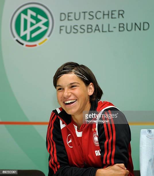 Ariane Hingst smiles during the German women national team school visit at the Schule am Giebel on July 24 2009 in Steinsfurt near Sinsheim Germany