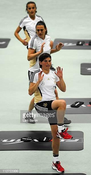 Ariane Hingst trains during a German Women National Team training session at NetCologne Stadium on April 20 2011 in Cologne Germany