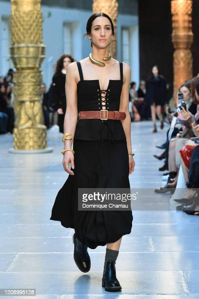 Ariane Labed walks the runway during the Chloe show as part of the Paris Fashion Week Womenswear Fall/Winter 2020/2021 on February 27 2020 in Paris...