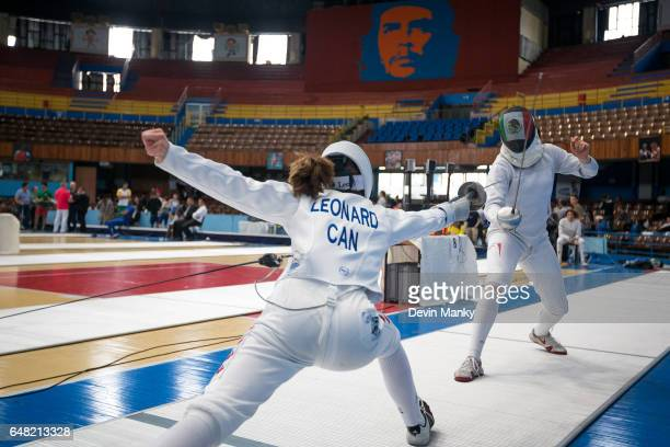 Ariane Leonard of Canada fences Jocelyn Cruz of Mexico in the Junior Women's Epee competition at the Cadet and Junior PanAmerican Fencing...