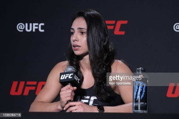Ariane Lipski interacts with media during the UFC Vegas 37 Media Day on September 15, 2021 at UFC Apex in Las Vegas, Nevada.