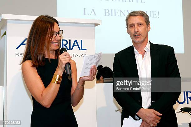 Ariane Poniatowski and Antoine de Caunes who plays the auctioneer attend 'Arty Bike' Auction to benefit Association des Tout P'tits at Artcurial on...