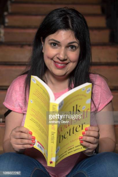 Ariane Sherine author of Talk Yourself Better poses during her book launch party at The Skeptics night at the King's Arms on November 8 2018 in...