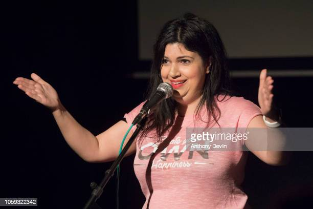 Ariane Sherine author of Talk Yourself Better speaks during her book launch party at The Skeptics night at the King's Arms on November 8 2018 in...