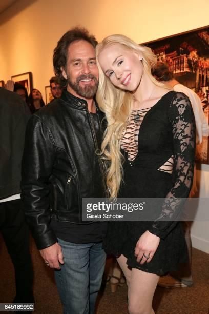 Ariane Sommer and her boyfriend Clay Kahler during the opening night of Ellen von Unwerth's photo exhibition at TASCHEN Gallery on February 24 2017...