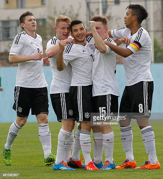 Arianit Ferati of Germany celebrate his goal with Niclas Bahn and Phillipp Ochs during the UEFA Under17 Elite Round between Germany and Ireland at...
