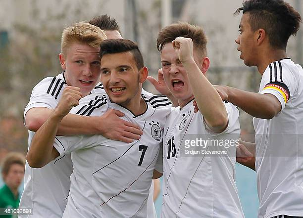 Arianit Ferati of Germany celebrate his goal with Niclas Bahn during the UEFA Under17 Elite Round between Germany and Ireland at Stadion FC Obilic on...