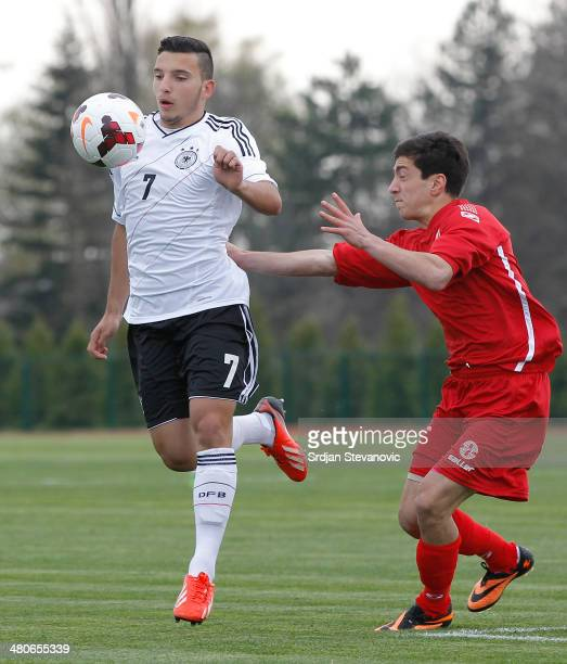 Arianit Ferati of Germany in action against Irakti Komakhidze Georgia during the UEFA Under17 Elite Round between Georgia and Germany at Stadion...