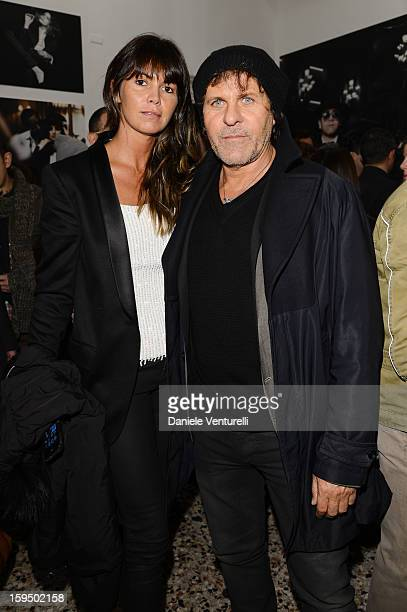 Arianna Alessi and Renzo Rosso attend the 'So Chic So Stylish' cocktail party as part of Milan Fashion Week Menswear Autumn/Winter 2013 on January 14...