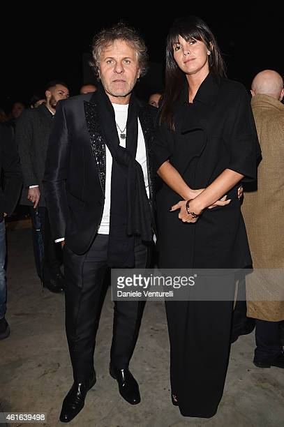 Arianna Alessi and Renzo Rosso attends the Dsquared2 during the Milan Menswear Fashion Week Fall Winter 2015/2016 on January 16, 2015 in Milan, Italy.