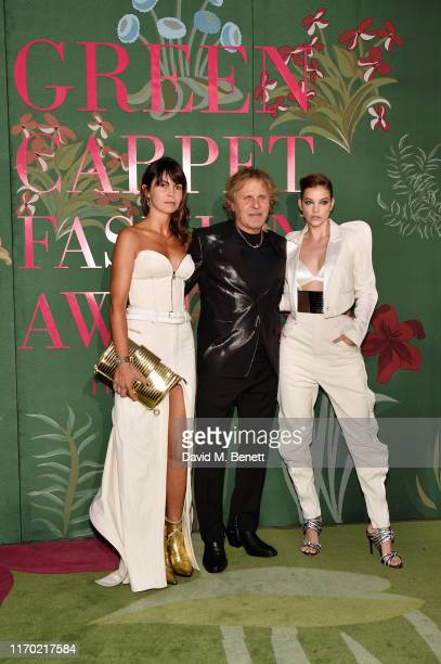 Arianna Alessi Renzo Rosso and Barbara Palvin wearing Diesel attend The Green Carpet Fashion Awards Italia 2019 hosted by CNMI EcoAge at Teatro Alla...