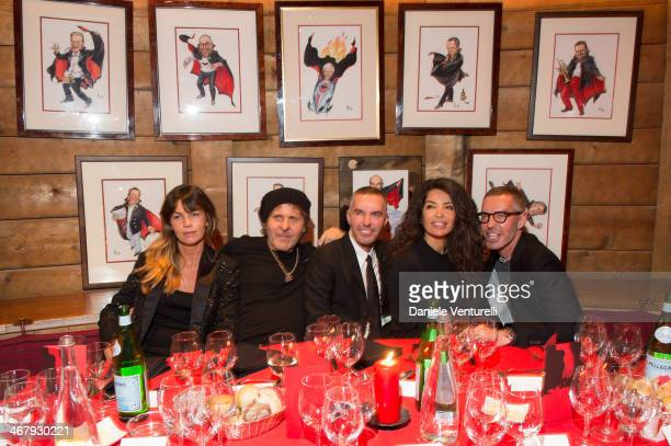 Arianna Alessi, Renzo Rosso, Dan Caten, Afef Jnifen and Dean Caten attend the private dinner Host Dean and Dan Caten of Dsquared2 at Dracula's Club...