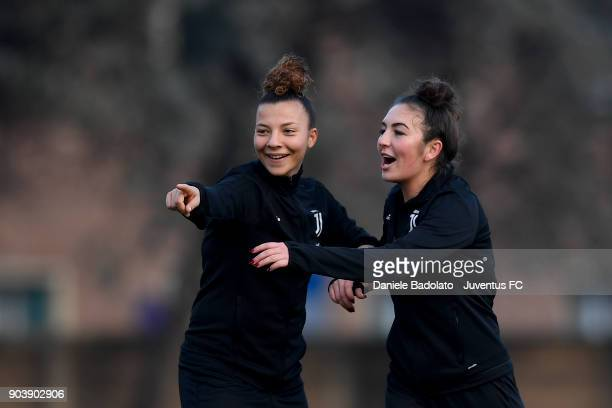 Arianna Caruso and Katie Zelem during a Juventus Women training session on January 11 2018 in Turin Italy