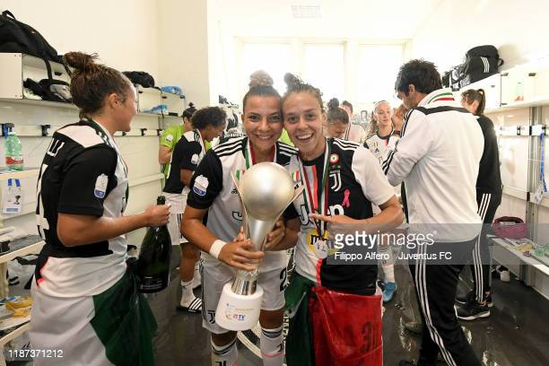 Arianna Caruso and Lisa Boattin celebrate the victory in the dressing room at the end of the Italian Supercup match between Juventus Women and...