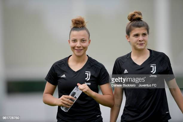 Arianna Caruso and Sofia Cantore during the Juventus Women training session on May 23 2018 in Turin Italy
