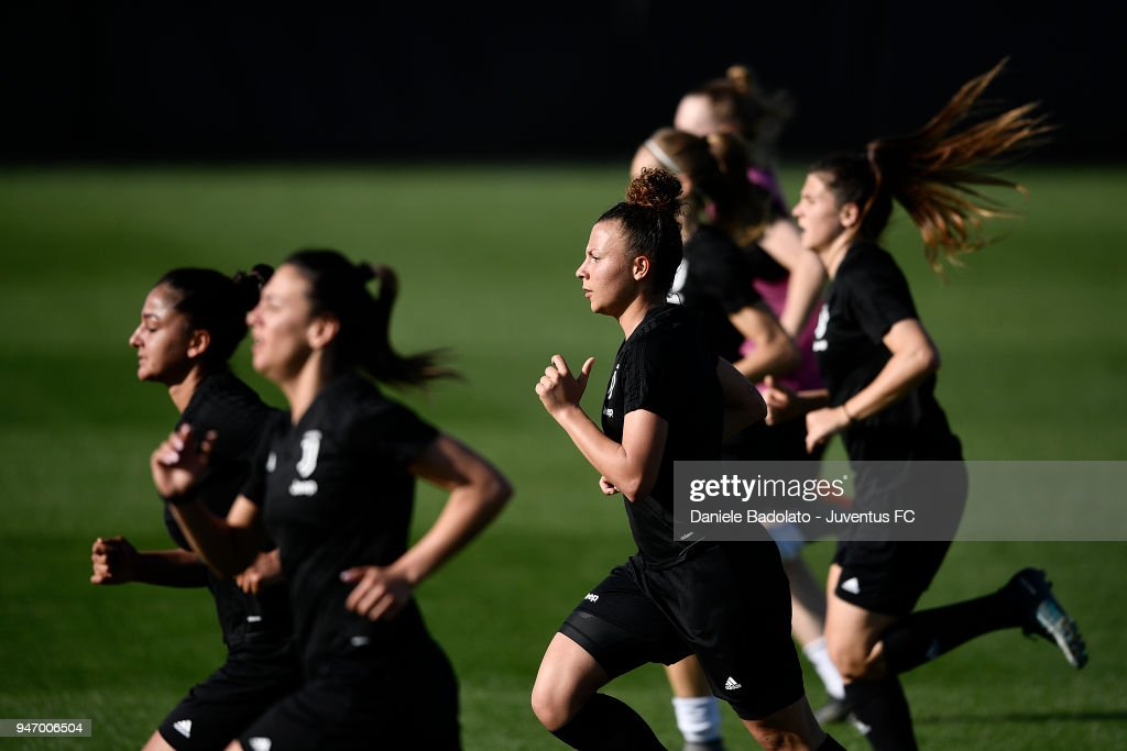 Arianna Caruso during the Juventus Women first training session at Jtc in Continassa on April 16, 2018 in Turin, Italy.
