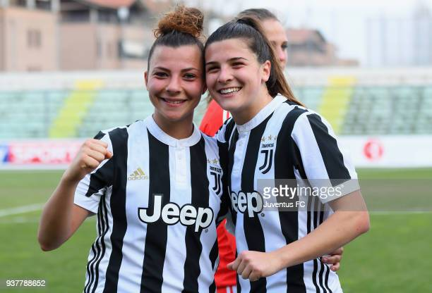 Arianna Caruso of Juventus Women and Sofia Cantore celebrate the victory after the serie A match between Sassuolo Femminile and Juventus Women at...
