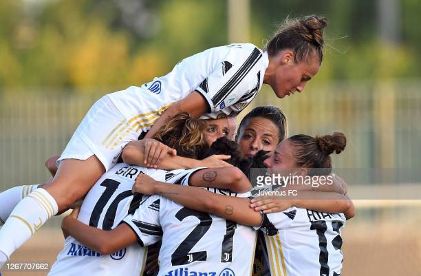 Arianna Caruso of Juventus Women celebrates after scoring her team's second goal with teammates during the Women Serie A match between Hellas Verona...