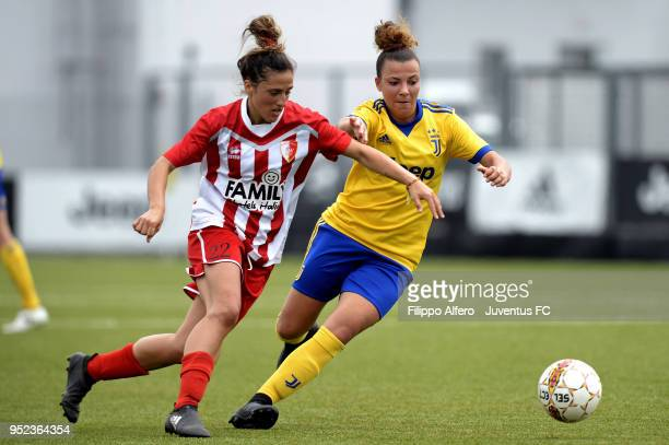 Arianna Caruso of Juventus Women competes for the ball with a player of Ravenna Women during the serie A match between Juventus Women and Ravenna...