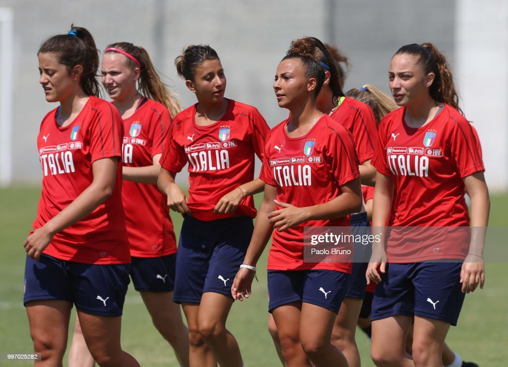 Arianna Caruso with her teammates of Italy in action during the Italy women U19 photocall and training session on July 12, 2018 in Formia, Italy.