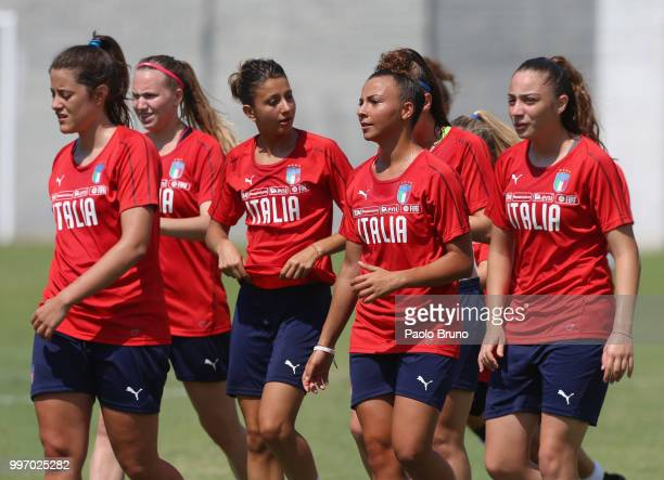 Arianna Caruso with her teammates of Italy in action during the Italy women U19 photocall and training session on July 12 2018 in Formia Italy