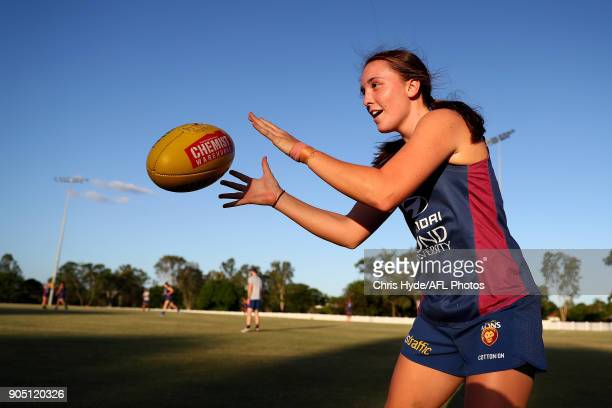 Arianna Clarke catches during a Brisbane Lions AFL training session at Leyshon Park on January 15 2018 in Brisbane Australia