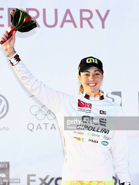 Arianna Fidanza of Italy and Ale Cipollini wear the Pearl White jersey for the best young rider after stage one of the 2015 Ladies Tour of Qatar from...