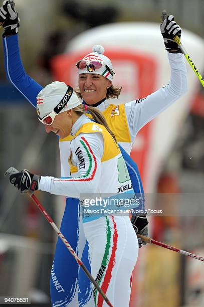 Arianna Follis and Magda Genuin of Italy during the Women's Team Sprint Final in the FIS Cross Country World Cup on December 6 2009 in Duesseldorf...