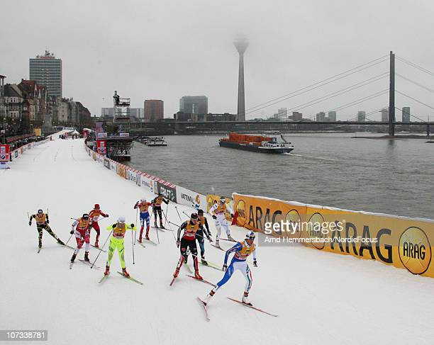 Arianna Follis leads a group during the women's team sprint final in the FIS Cross Country World Cup on December 5 2010 in Duesseldorf Germany