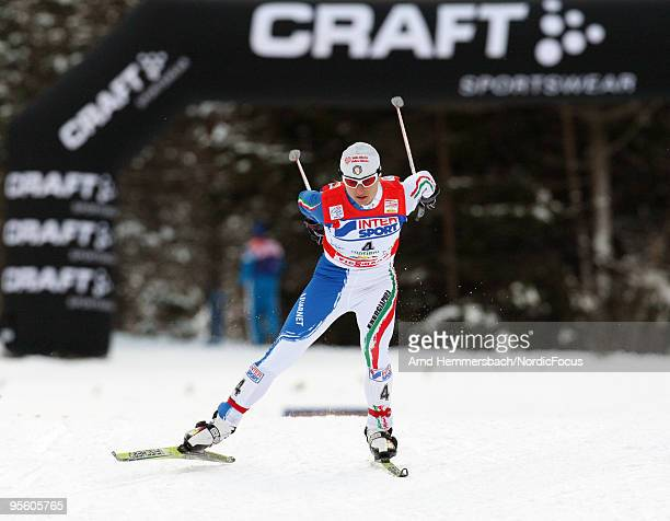 Arianna Follis of Italy competes during the 15km women handicap start for the FIS Cross Country World Cup Tour de Ski on January 06 2010 in Toblach...