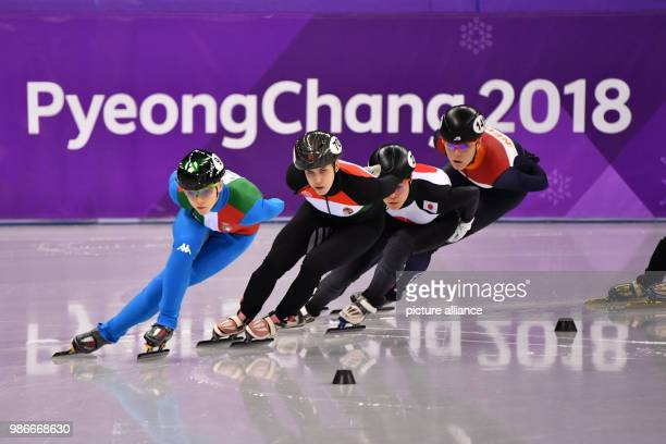 Arianna Fontana from Italy Sara Luca Bacskai from Hungary Sumire Kikuchi from Japan and Jorien ter Mors from the Netherlands during the women's 1500m...