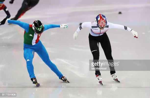 Arianna Fontana of Italy and Minjeong Choi of South Korea race for the finish line during the Short Track Speed Skating Women's 500m final on day...