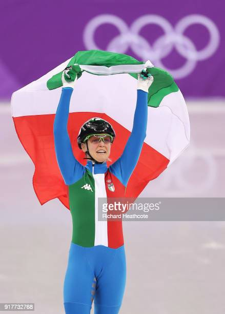 Arianna Fontana of Italy celebrates after winning the gold medal in the Ladies' 500m Short Track Speed Skating final on day four of the PyeongChang...