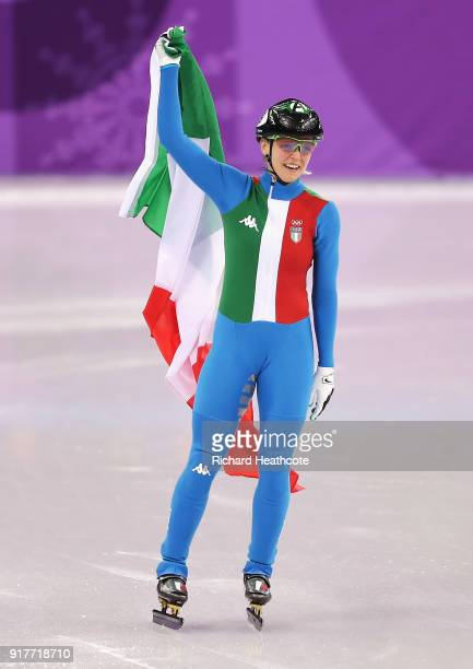 Arianna Fontana of Italy celebrates after winning the gold medal during the Ladies' 500m Short Track Speed Skating final on day four of the...