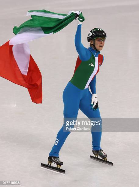 Arianna Fontana of Italy celebrates after winning the Ladies' 500m Short Track Speed Skating final on day four of the PyeongChang 2018 Winter Olympic...
