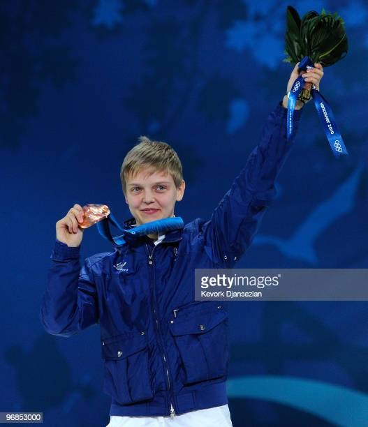 Arianna Fontana of Italy celebrates winning the bronze during the medal ceremony for the Ladies' 500 m Short Track on day 7 of the Vancouver 2010...